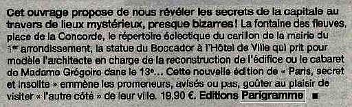 Paris secret et insolite 2012 dans Pariscope! 1